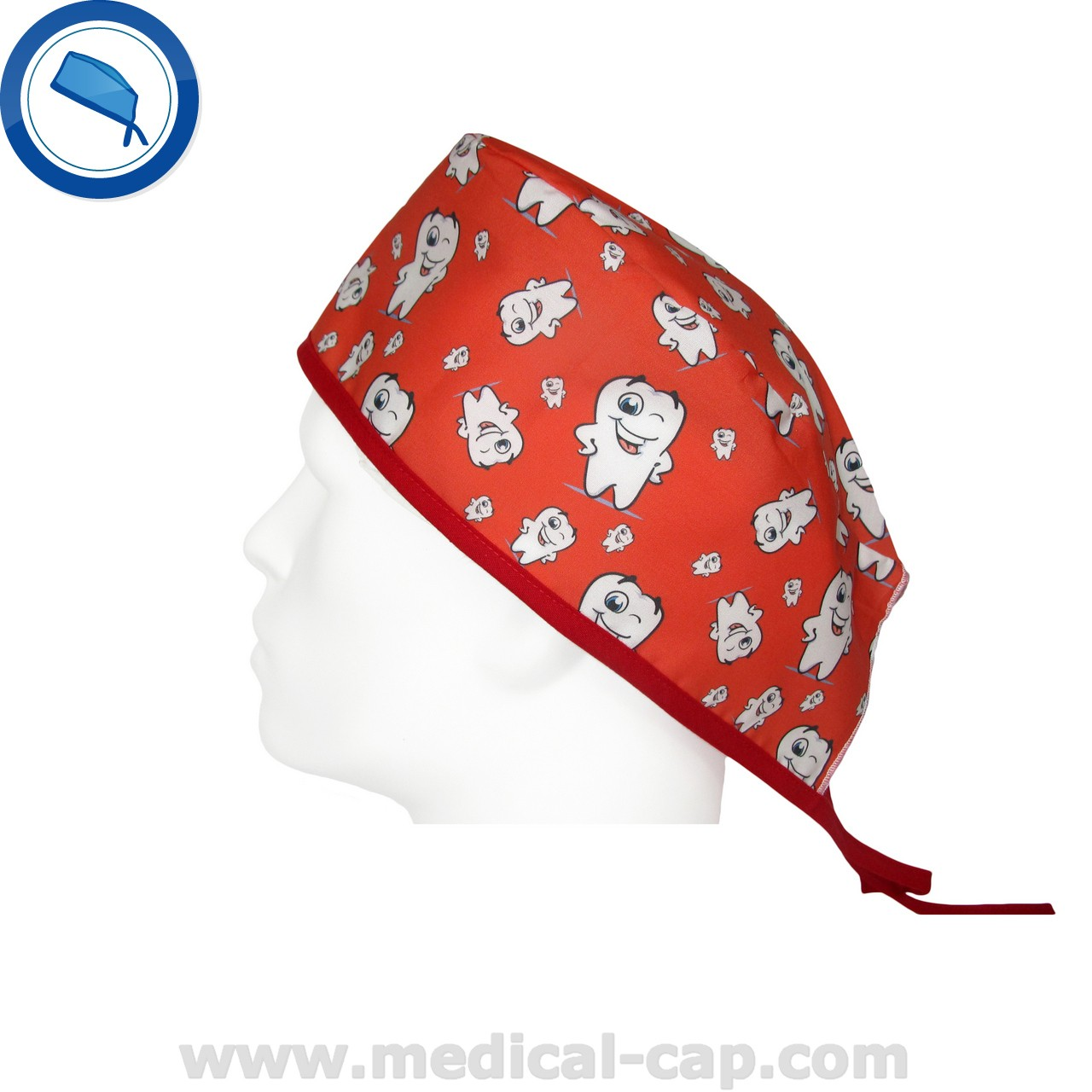 28e43fd4161 Surgical Cap Dentists Red Happy tooth