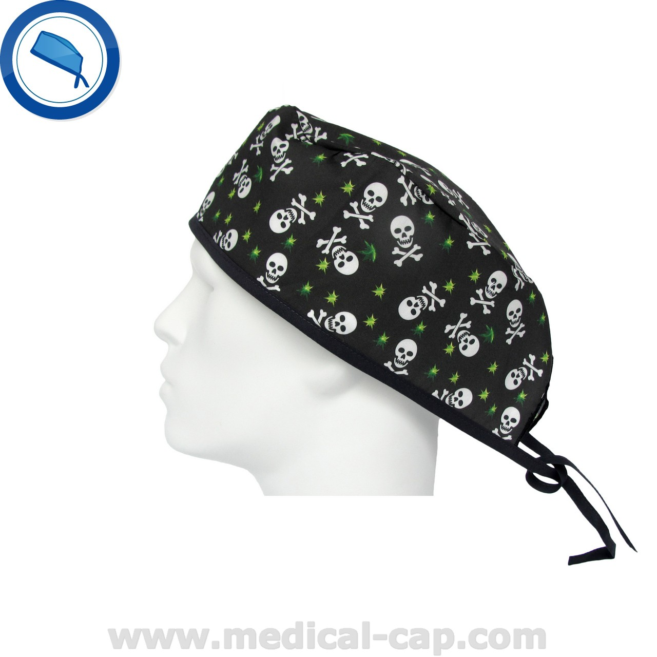 b6745e25987 Surgical Cap Skulls Green Stars – Man